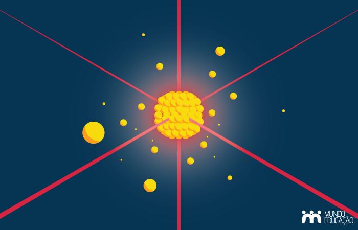 A fim de obter-se um condensado de Bose-Einstein, os lasers são usados para resfriar os átomos.