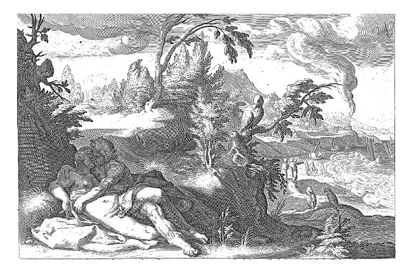 O corvo de Apolo vistando Corônis traindo Apolo.