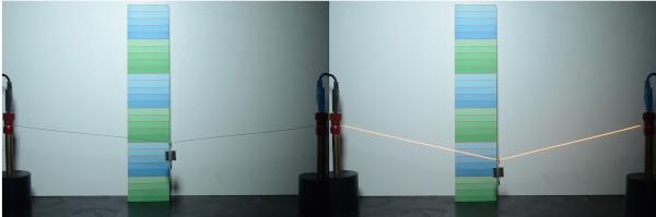 Na imagem é possível perceber-se o aumento no comprimento do fio graças à dilatação térmica.