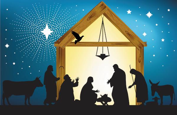 O presépio representa o nascimento de Jesus.
