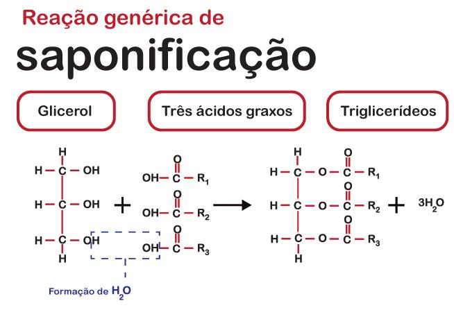 Demonstração de uma reação genérica de saponificação, em que um glicerol reage com três ácidos graxos, formando um triglicerídeo.