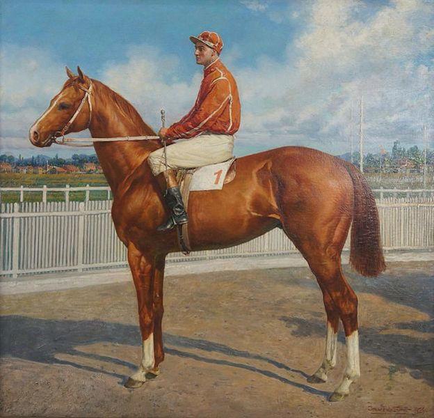 """""""Jóquei"""" (1926), obra de Oscar Pereira da Silva (1865-1939), pertencente ao acervo do Jockey Club de São Paulo."""