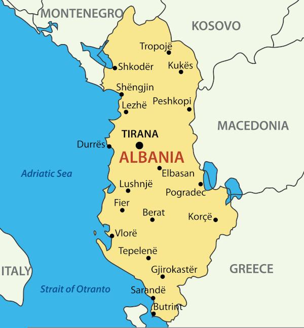 Mapa da Albânia, país europeu situado na península dos Bálcãs.