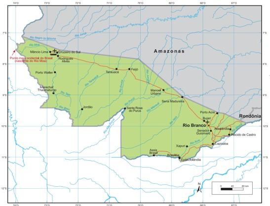 Mapa do Acre, estado da Região Norte do Brasil. Fonte: IBGE.