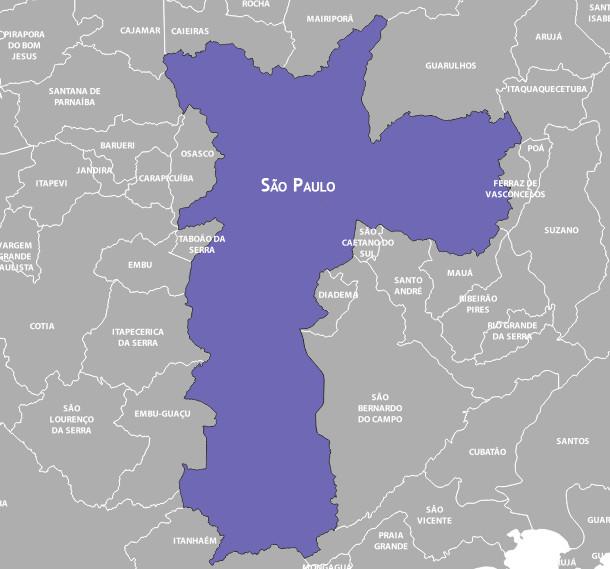 Mapa de São Paulo e municípios vizinhos.