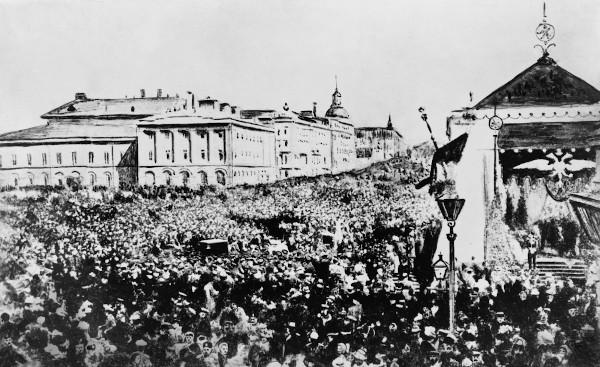 Multidão em Moscou celebrando o Manifesto de Outubro, de Nicolau II.[2]