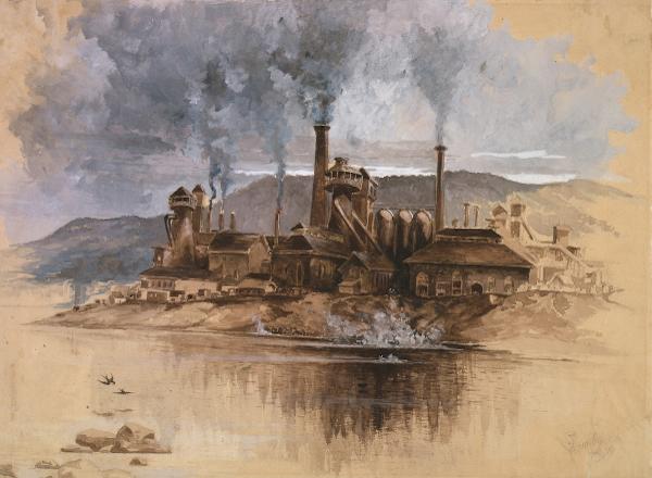 Representação de uma indústria metalúrgica no final do século XIX.