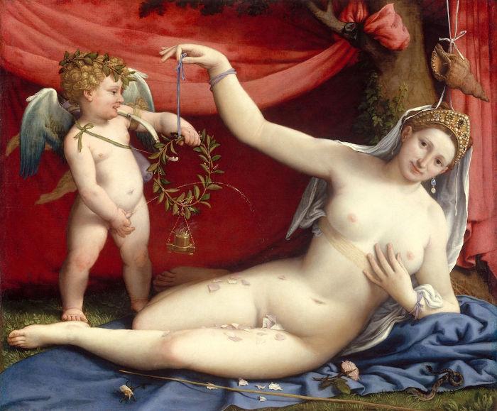 """""""Vênus e cupido"""", por Lorenzzo Lotto, década de 1520."""