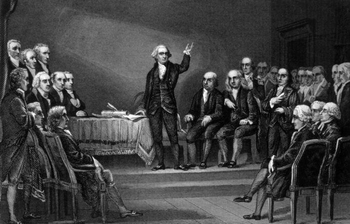 George Washington foi um dos presentes na Convenção Constitucional de 1787.