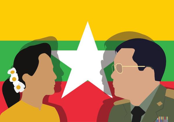 Com o golpe militar, Aung San Suu Kyi foi presa e o general Min Aung Hlaing assumiu o governo mianmarense.[2]