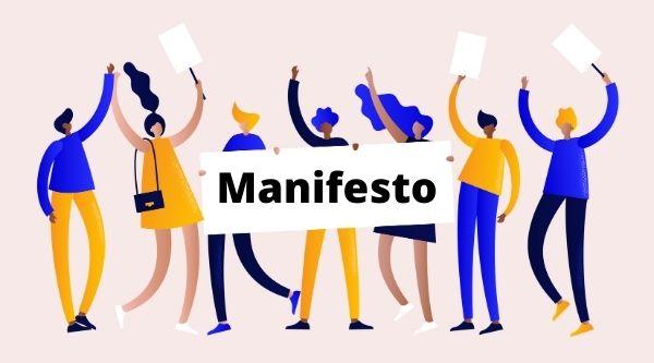 O manifesto é um texto de expressão e defesa de ideias ao grande público.