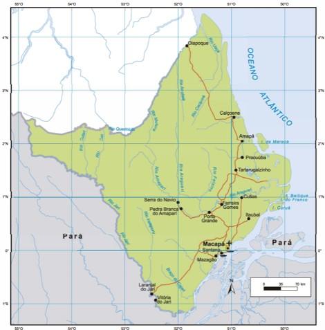 Mapa do estado do Amapá, na Região Norte do Brasil. Fonte: IBGE.