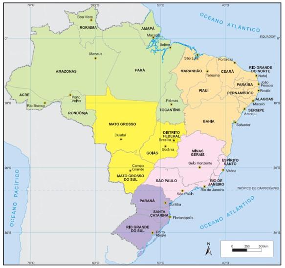 O Brasil possui 27 capitais no total. Fonte: IBGE.