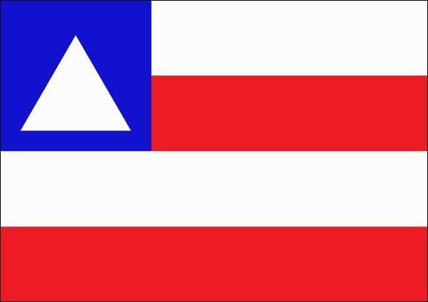 Bandeira da Bahia, estado mais populoso da região Nordeste do Brasil.
