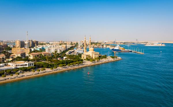 O Porto de Suez, localizado na Mar Vermelho, é uma importante área de escoamento da produção mundial.