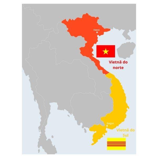 No mapa, a região em vermelho era o Vietnã do Norte, e o Vietnã do Sul está representado de amarelo.