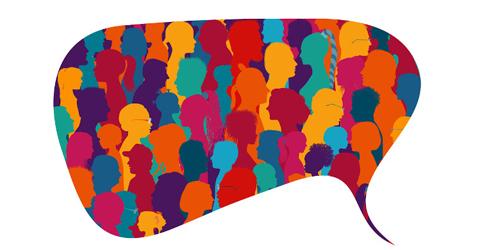 Balão de fala com vários desenhos de pessoas dentro