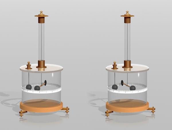 Coulomb utilizou uma balança de torção similar à representada na figura para medir a força elétrica entre duas cargas.