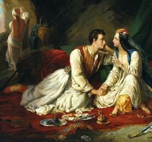 Byron como Don Juan, com Haidée, obra de Alexandre-Marie Colin (1798-1875).