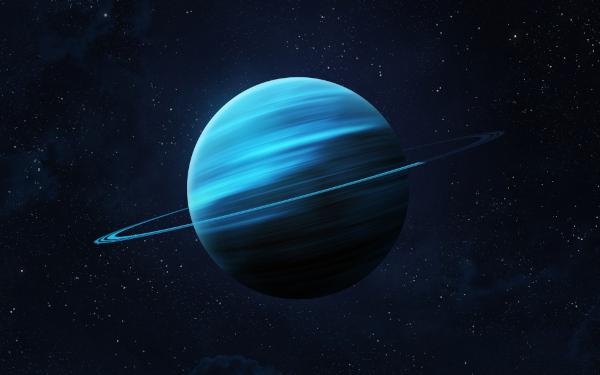 Urano é um dos quatro planetas gasosos do Sistema Solar. É caracterizado por sua coloração azulada e seus anéis opacos.