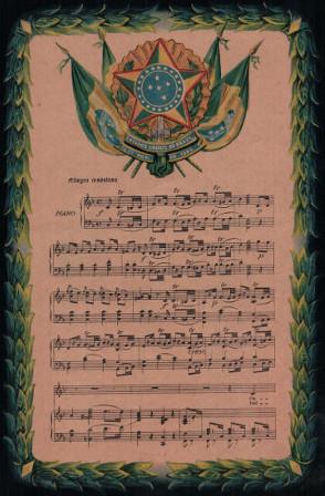 Partitura da música do Hino Nacional Brasileiro, composta por Francisco Manuel da Silva