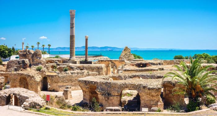 Ruínas da antiga cidade de Cartago, destruída pelos romanos logo após as Guerras Púnicas.