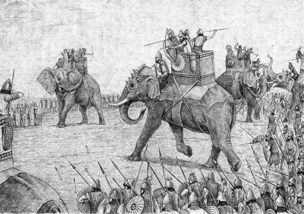 Os cartaginenses utilizaram elefantes nas guerras contra os romanos durante as Guerras Púnicas.