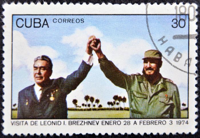 Selo que recorda a visita do líder soviético Leonid Brezhnev a Cuba, em 28 de fevereiro de 1974. [2]