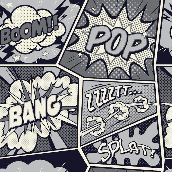 Há diversas onomatopeias em histórias em quadrinhos.