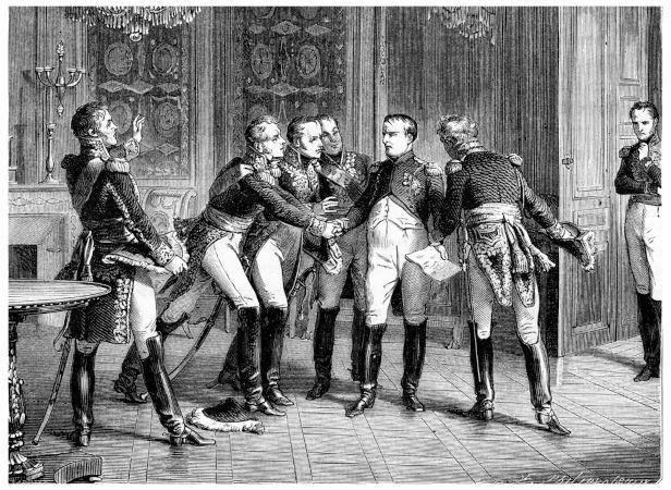Em 1814, Napoleão Bonaparte renunciou ao trono, sendo enviado para o seu exílio na ilha de Elba.