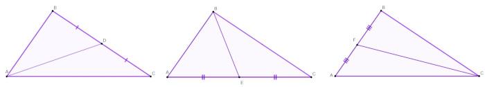 Indicações das medianas de cada lado de um triângulo ABC separadamente.