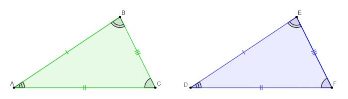 Triângulo isósceles ABC congruente ao triângulo DEF.
