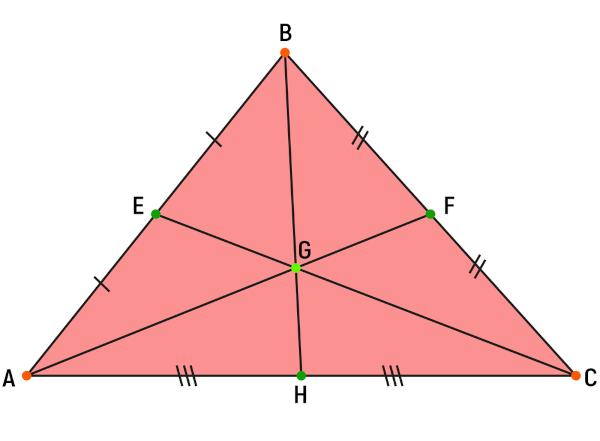 Baricentro do triângulo ABC.