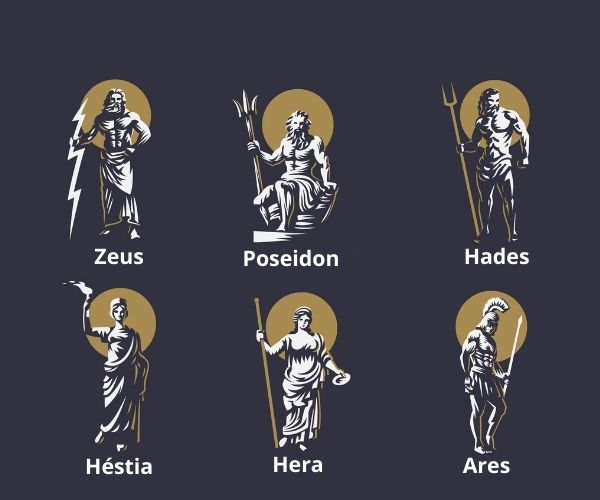 Alguns dos deuses gregos.