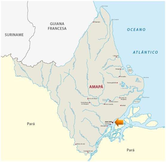Mapa do estado do Amapá com destaque para a localização de Macapá