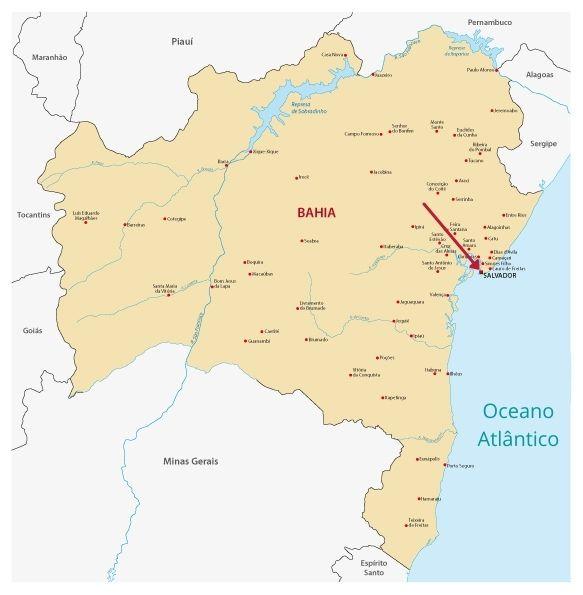 Mapa da Bahia, com destaque para a localização de Salvador.