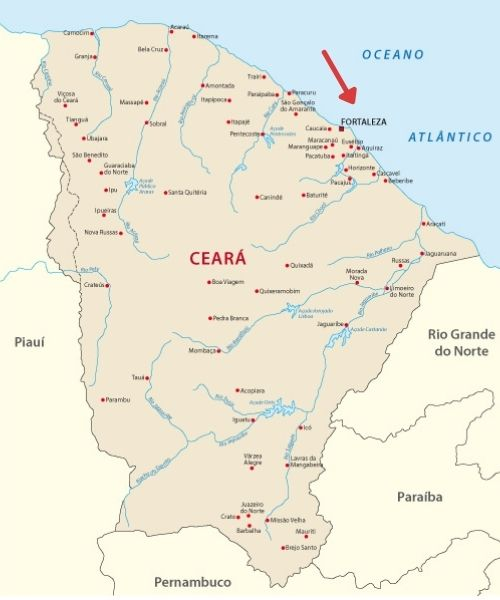 Mapa do Ceará com destaque para a localização da capital, Fortaleza.