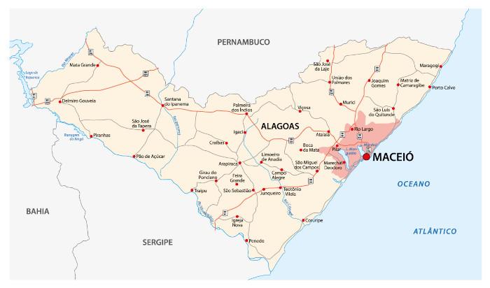 Mapa de Alagoas, com destaque para a capital, Maceió.