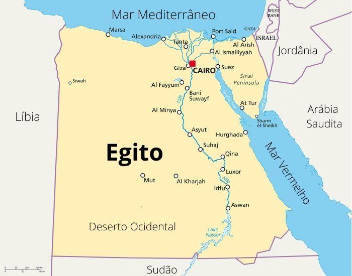 Mapa do Egito mostra sua localização e principais cidades