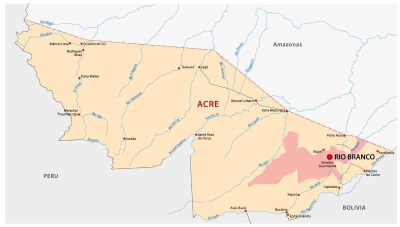 Mapa do Acre com destaque em Rio Branco.