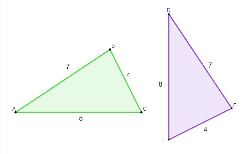 Dois triângulos com lados congruentes.