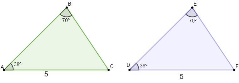 Dois triângulos congruentes com as mesmas medidas de um lado, do ângulo adjacente ao lado e do ângulo oposto.