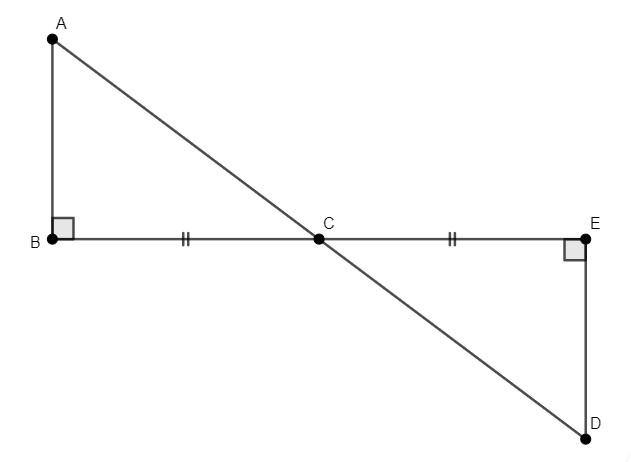 Dois triângulos retângulos congruentes ABC e CDE.