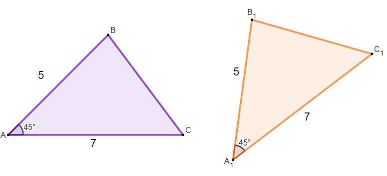 Dois triângulos congruentes com um ângulo e dois lados iguais.