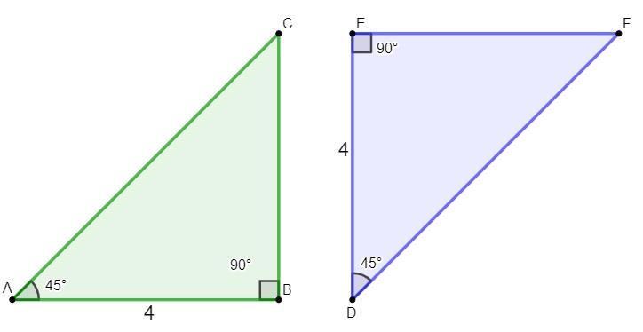 Dois triângulos retângulos congruentes que apresentam um lado e dois ângulos iguais.