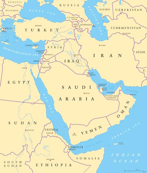 Mapa do Oriente Médio.