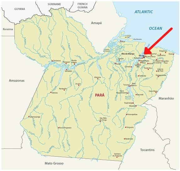 Mapa do estado do Pará com destaque na capital, Belém.