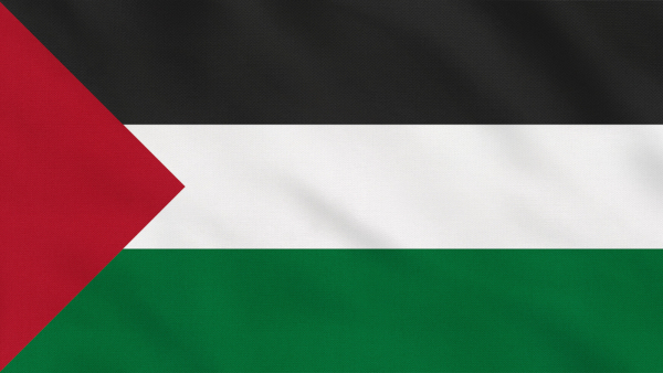 Bandeira da Palestina, formada pela Faixa de Gaza e pela Cisjordânia.