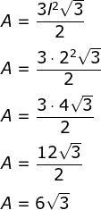 Cálculo da área de um hexágono regular com lado medindo 2 cm.