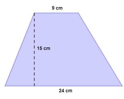 Exemplo de trapézio com as bases medindo 9 cm e 24 cm, e a altura medindo 15 cm.